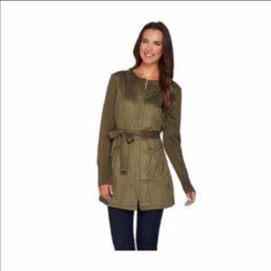 H by haltson olive green faux suede jacket